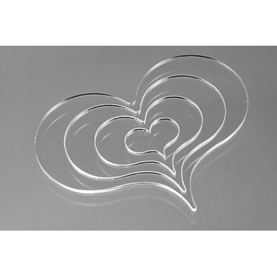 "Heart Drawing Tool - Set of 4 Nested Tools 3/16""x1"" - 4 13/16""x3 5/8"""